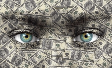 Human face with money texture - Wealth concept photo