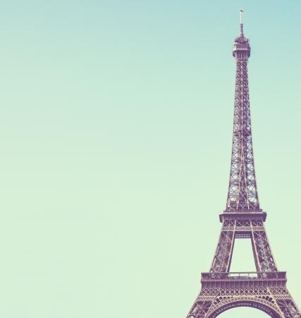 vintage paris: Eiffel toweragainst blue sky vintage image