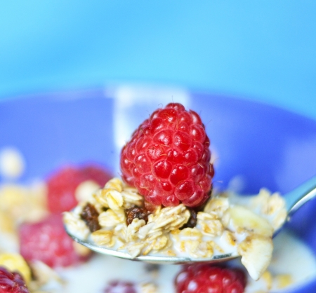 Muesli with fresh fruits raspberries photo