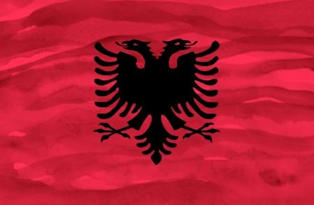 albania: Painted flag of Albania Stock Photo