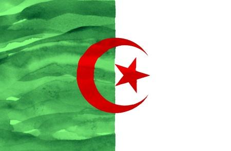 algeria: Painted flag of Algeria