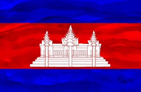 Painted flag of Cambodia Stock Photo - 20334777