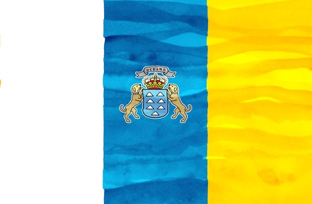 canary islands: Painted flag of Canary islands Stock Photo