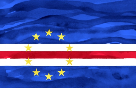 verde: Painted flag of Cape Verde Stock Photo