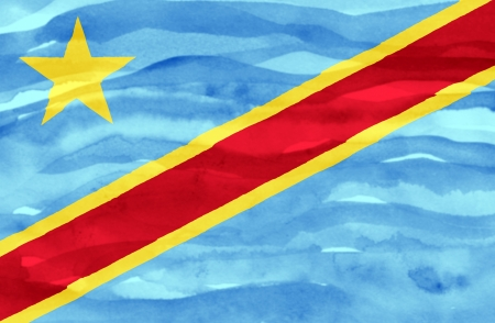 Painted flag of Congo Democratic Republic photo