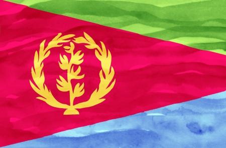 eritrea: Painted flag of Eritrea
