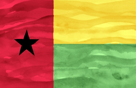 guinea bissau: Painted flag of Guinea Bissau