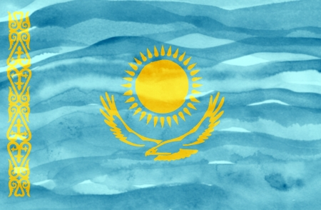 Painted flag of Kazakhstan photo