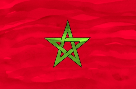 Painted flag of Morocco photo