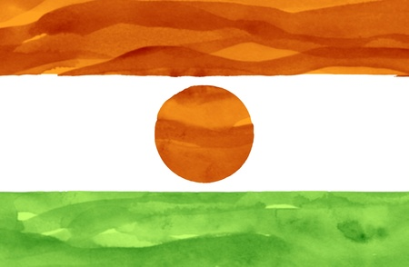 niger: Painted flag of Niger Stock Photo