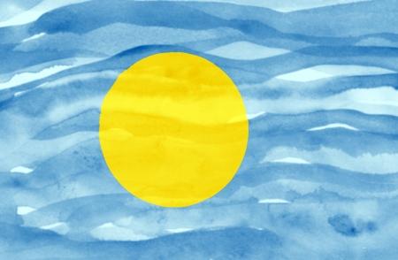 Painted flag of Palau photo
