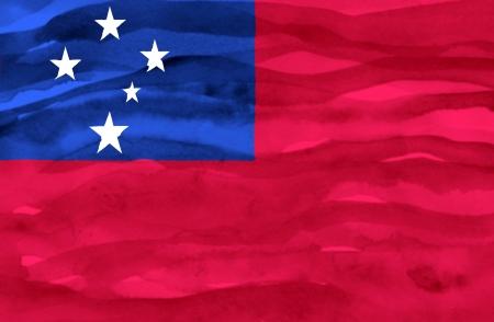 samoa: Painted flag of Samoa