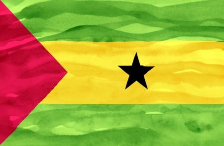 tome: Painted flag of Sao Tome and Principe