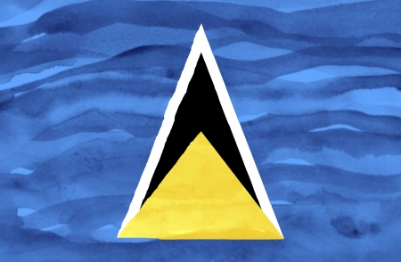 st lucia: Painted flag of St Lucia