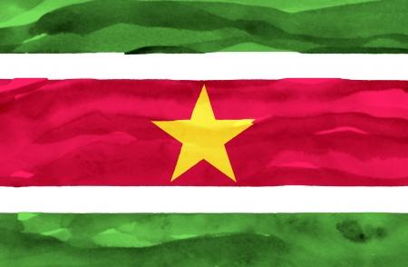 suriname: Geschilderde vlag van Suriname
