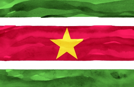 suriname: Painted flag of Suriname