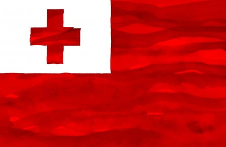 tonga: Painted flag of Tonga