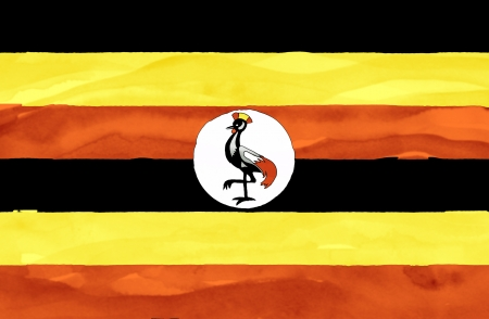 uganda: Painted flag of Uganda
