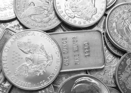 fine silver: Silver coins and bars background Stock Photo