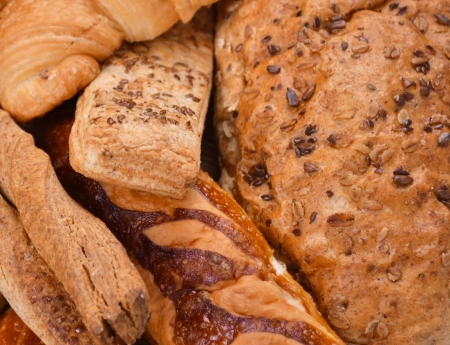 Assortment of baked bread macro shot photo