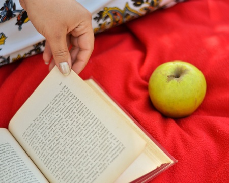 Close up of woman hand reading book Stock Photo - 21051586