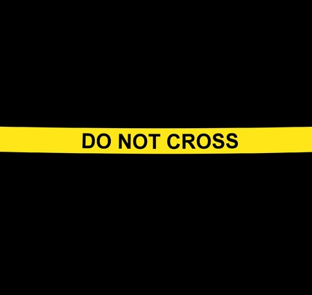 DO NOT CROSS yellow warning tape against black background