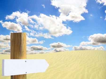 Empty wooden sign in desert photo