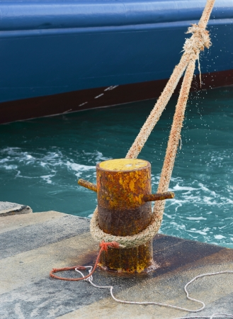 moorings: Ship fixed with rope to harbour