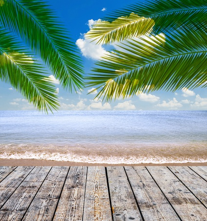 Tropical sea and beach with palm leaves and wooden floor photo
