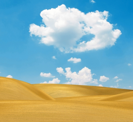 Sand dunes and bright blue sky photo