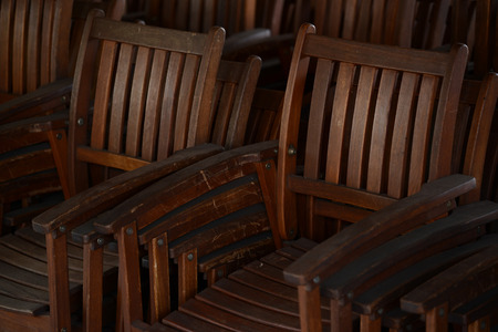 Group of old antique wooden chairs photo
