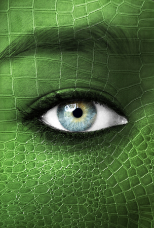 mutation: Human with lizzard skin texture - Mutation concept Stock Photo