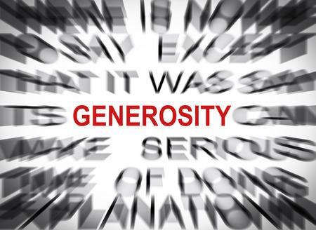 generosidad: Texto Blured con el foco en GENEROSIDAD Foto de archivo