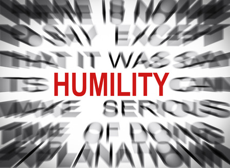 Blured text with focus on HUMILITY Stock Photo