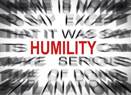 humildad: Texto Blured con el foco en HUMILDAD