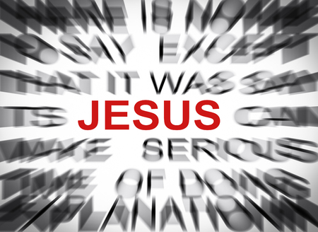 Blured text with focus on JESUS Stock Photo