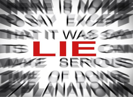 lie: Blured text with focus on LIE