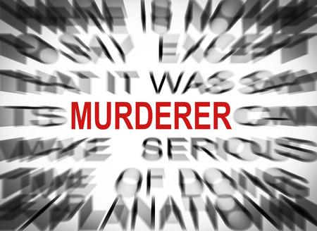 murderer: Blured text with focus on MURDERER