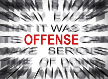 offense: Texto Blured con el foco en OFENSA Foto de archivo
