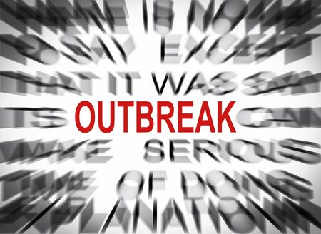 outbreak: Blured text with focus on OUTBREAK