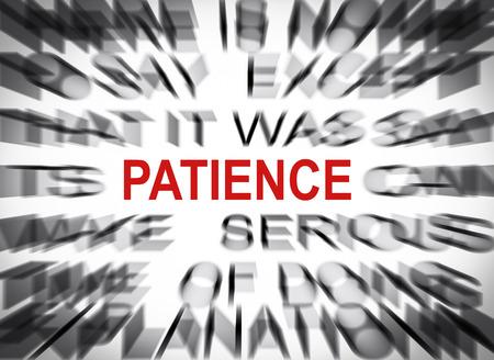 paciencia: Texto Blured con el foco en PACIENCIA