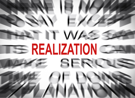 realization: Blured text with focus on REALIZATION Stock Photo