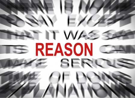 reason: Blured text with focus on REASON Stock Photo