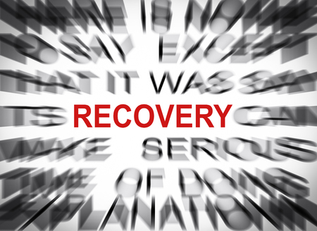 data recovery: Blured text with focus on RECOVERY