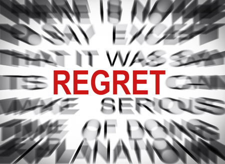 regret: Blured text with focus on REGRET