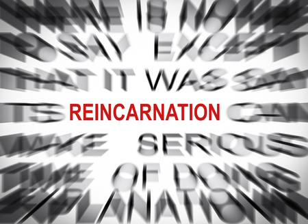 reincarnation: Blured text with focus on REINCARNATION Stock Photo