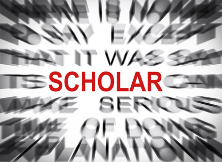 Blured text with focus on SCHOLAR Stock Photo