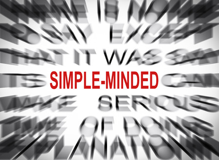 minded: Blured text with focus on SIMPLE MINDED