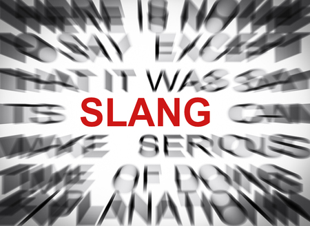 slang: Blured text with focus on SLANG Stock Photo