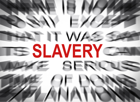 slavery: Blured text with focus on SLAVERY